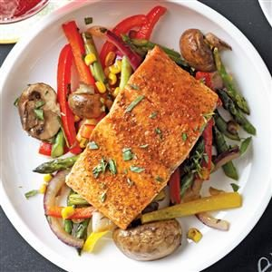 Lemon-Lime Salmon with Veggie Saute