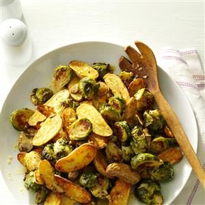 Lemon Roasted Fingerlings and Brussels Sprouts Recipe