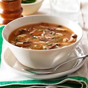Lemony Mushroom Orzo Soup Recipe