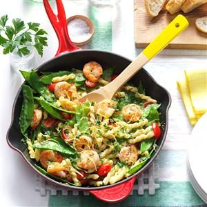 Lemony Shrimp & Snow Pea Pasta Recipe