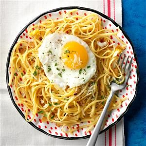 Linguine with Fried Eggs and Garlic Recipe