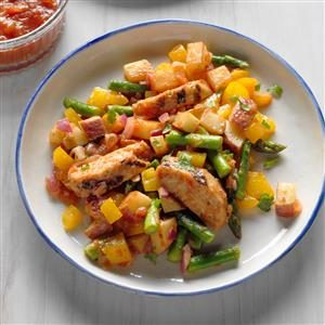 Mango Salsa Chicken with Veggie Hash Recipe