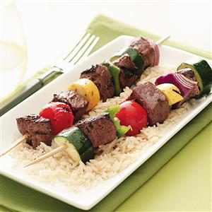 Marinated Veggie Beef Kabobs Recipe
