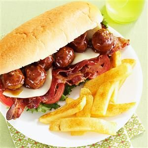 Meatball Hoagies with Seasoned Fries Recipe
