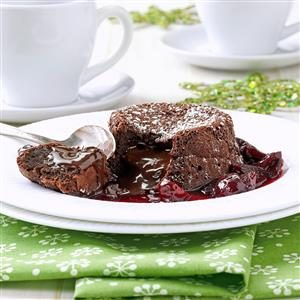 Molten Chocolate Cherry Cakes Recipe