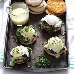 Mushroom & Spinach Eggs Benedict Recipe