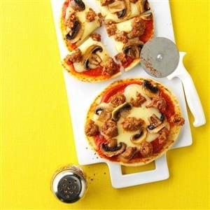 Mushroom & Swiss Pita Pizzas Recipe