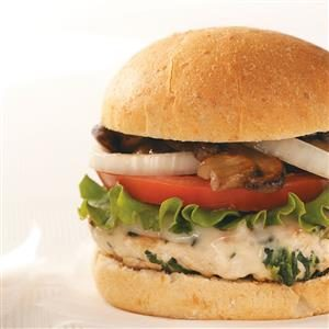 Mushroom & Swiss Turkey Burgers Recipe