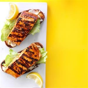 Open-Faced Grilled Salmon Sandwiches Recipe