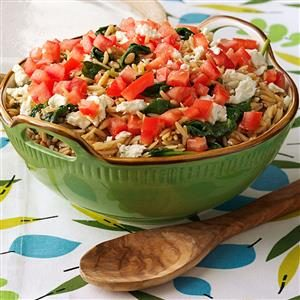 Orzo with Spinach and Pine Nuts Recipe