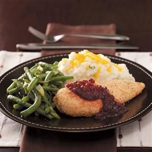 Oven-Fried Chicken with Cranberry Sauce