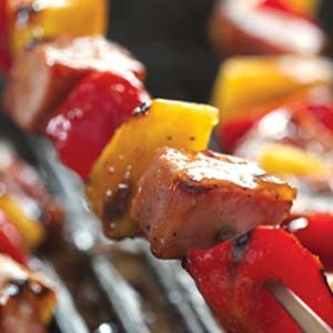 Peachy Barbecued Ham Kabobs