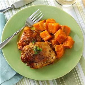 Peachy Chicken with Sweet Potatoes Recipe
