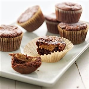 Peanut Butter-Filled Brownie Cupcakes Recipe