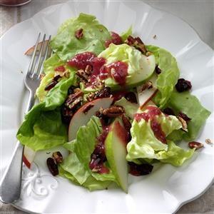 Pear & Pecan Salad with Cranberry Vinaigrette Recipe