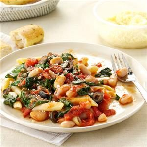 Penne with Tomatoes & White Beans Recipe