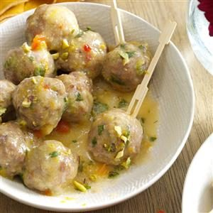 Pistachio-Turkey Meatballs in Orange Sauce Recipe
