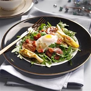 Poached Egg Salads with Pancetta Vinaigrette Recipe