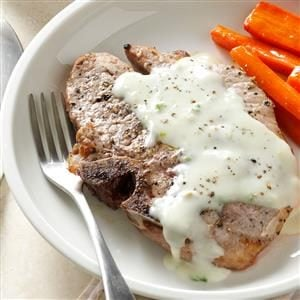 Pork Chops with Blue Cheese Sauce
