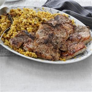 Pork Chops with Corn Bread Stuffing Recipe