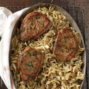 Pork Chops with Creamy Mustard Noodles Recipe