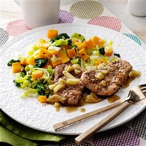 Pork Medallions with Squash & Greens Recipe