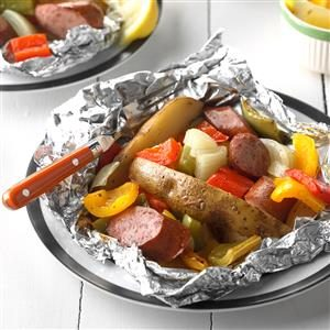 Potato-Sausage Foil Packs Recipe