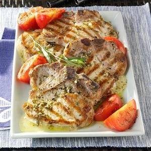 Provolone-Stuffed Pork Chops with Tarragon Vinaigrette Recipe