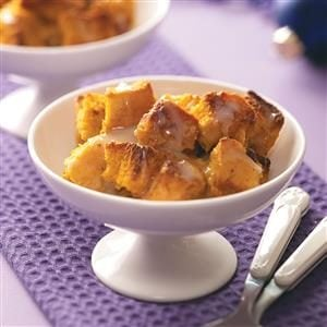 Pumpkin Bread Pudding with White Chocolate Sauce