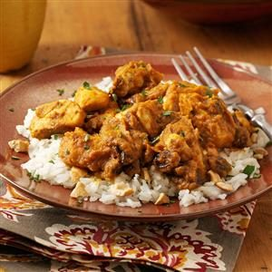 Pumpkin-Curry Chicken Over Cashew Rice Recipe