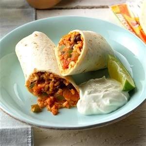 Quick Bean and Rice Burritos Recipe
