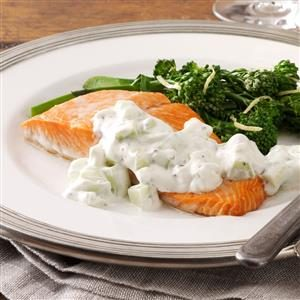 Quick Poached Salmon with Cucumber Sauce Recipe