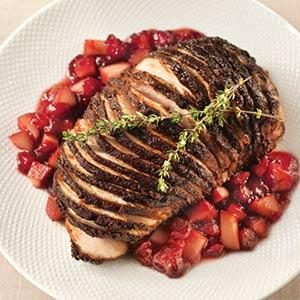 Chocolate and Coffee Crusted Turkey Breast with Cranberry Pear Chutney