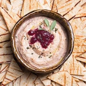 Cranberry-White Bean Hummus with Grilled Flatbread