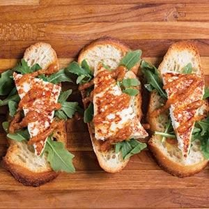 Fresco Cheese Crostini with Pumpkin Mojo