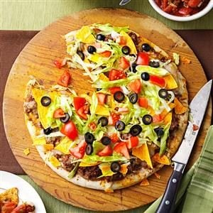 Refried Bean-Taco Pizza