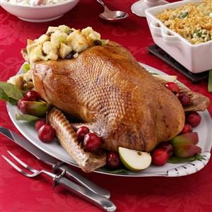 Roast Goose with Apple-Raisin Stuffing Recipe