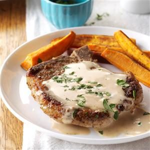 Sage Pork Chops with Cider Pan Gravy Recipe