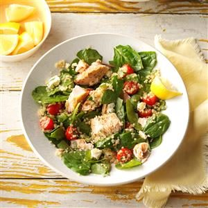 Salmon & Feta Wilted Spinach Salad Recipe