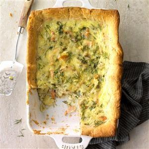 Salmon and Artichoke Quiche Squares Recipe