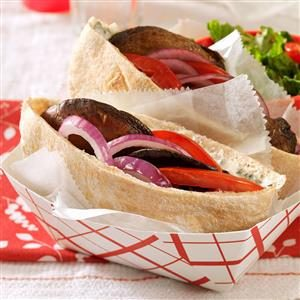 Saucy Portobello Pitas Recipe