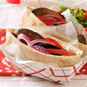 Saucy Portobello Pitas Recipe