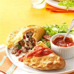 Sausage, Pepper & Mozzarella Calzones Recipe