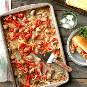 Sausage and Pepper Sheet Pan Sandwiches Recipe