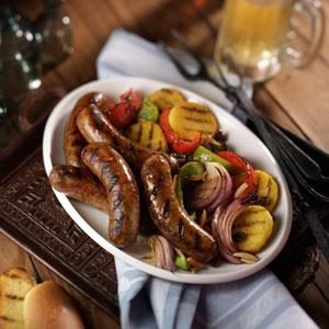 Grilled Italian Sausage with Sweet and Sour Peppers Recipe