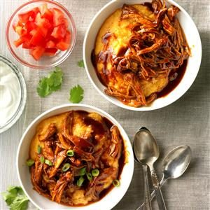 Shredded Barbecue Chicken over Grits Recipe