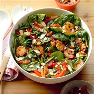 Shrimp and Spinach Salad with Hot Bacon Dressing Recipe