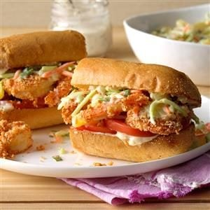Shrimp Po'Boys with Pineapple Slaw