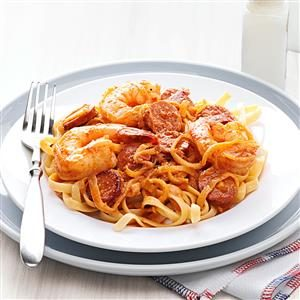 Shrimp Scampi Fettuccine with Andouille Butter Recipe
