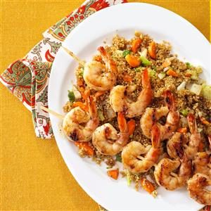 Shrimp Skewers with Asian Quinoa Recipe
